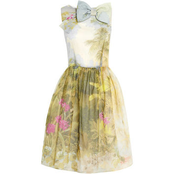 Red Valentino Hand Painted Floral Cotton Silk Dress