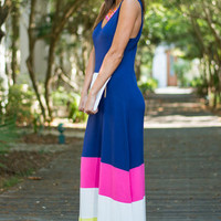 Color Block Inside The Lines Maxi Dress, Navy