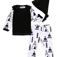 3ps!!Newborn Baby Girl Boy Clothes Long Sleeve Cotton T-shirt Tops+Long Pants Hat 3pcs Outfit Set