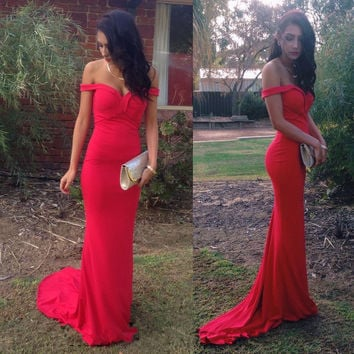 Off-shoulder Sheath Bodycon Floor Length Prom Party Dress