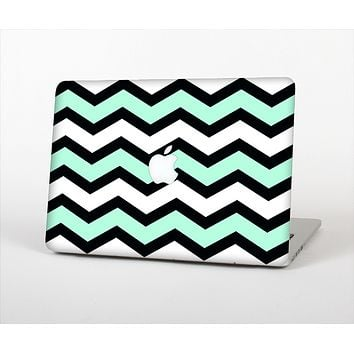 "The Teal & Black Wide Chevron Pattern Skin Set for the Apple MacBook Pro 13"" with Retina Display"