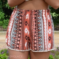 Meet Me In Fiji Rust Tribal Shorts