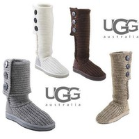 UGG Winter Trending Women Three Buckle Knit Wool Snow Boots Shoes
