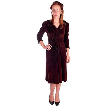 Vintage Chocolate Brown Velvet Day Dress 1930s Draping 38-28-47