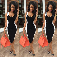 Contrast Sleeveless Midi Bodycon Dress