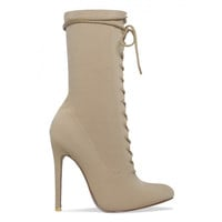 Celia Nude Lycra Lace Up Pointed Ankle Boots : Simmi Shoes