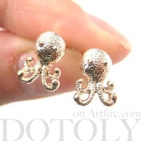 Adorable Octopus Shaped Stud Earrings in Rose Gold | Animal Jewelry