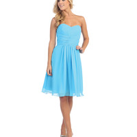 Turquoise Pleated Chiffon Strapless Sweetheart Dress Prom 2015