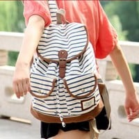 dotlife — white and blue black vivi retro stripe zebra backpack bag