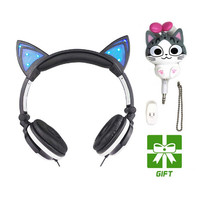 Cat Ears Headphones with LED Glowing Lights over the ears Gaming Headphones Cheese cat earphone for Mobile Phone Pad Computer PC