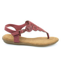 Tundra54S Dk mauve By Bamboo, Women's Flat Thong Sandal w Ankle Strap & Laser Cutout Floral