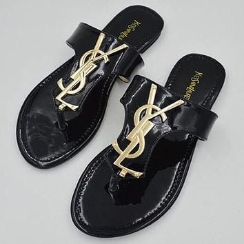 YSL Yves Saint Laurent Women Casual Flat Sandal Slipper Shoes