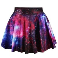 Erlking Women's Basic Versatile Galaxy Stretchy Flared Skater Skirt Color Galaxy