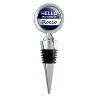 Rocco Hello My Name Is Wine Bottle Stopper