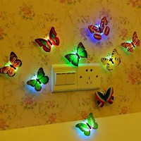 Flashing led color change Colorful Butterfly Night Light Baby Kids Room Wall Lights Party Decor Christmas LED Night luminaria