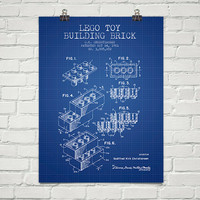 1961 Lego Toy Building Brick Patent Wall Art Poster, Home Decor, Gift Idea