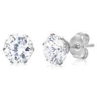 4ct TW Round Cubic Zirconia Stud Earrings