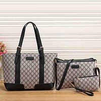 Gucci Women Fashion Leather Satchel Shoulder Bag Handbag Crossbody Three Piece Set