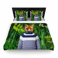 "Natt ""Into The Leaves N7"" Green Fox Woven Duvet Cover"