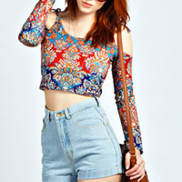 Elisa Boho Print Tie Shoulder Crop Top