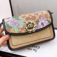 COACH New fashion pattern floral print leather chain shoulder bag crossbody bag