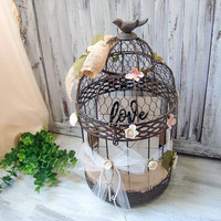 Shabby Chic Decorative Bird Cage, Wedding Card Box, Rustic Metal Ornate Bird Cage with Roses, Wooden Plaque Love Sign, Wedding Bird Cage