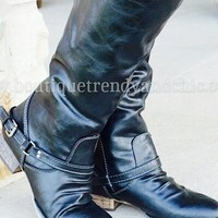 ON SALE ! LEATHER BUCKLE BOOTS- One 5.5 Left!