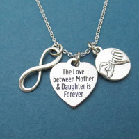 The Love between Mother & Daughter is Forever, Infinity, Pinky, Promise, Silver, Necklace, Love, Mother, Daughter, Friendship, Gift, Jewelry