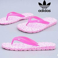 Adidas slippers beach shoes flip-flops wading shoes men and women sandals pink