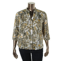 Alfred Dunner Womens Petites Cotton 3/4 Sleeves Button-Down Top