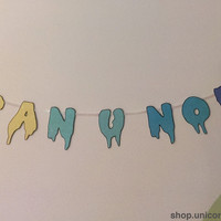 """Pastel Gradient Drippy Font """"Can U Not"""" Banner Yellow/Green/Blue with Black Outline"""