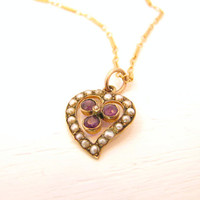 Antique Heart Pendant Necklace, Romantic Seed Pearl Amethyst Victorian Pendant, Solid Gold on Lovely Chain with Charming Old Box