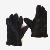 Black leather gloves soft leather gloves genuine leather gloves soviet leather gloves mens leather gloves Christmas gift motorcycle gloves