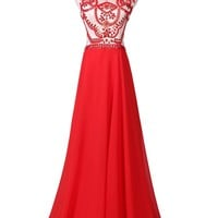 Femicuty Women's Red Statement A-line Chiffon Prom Gown Lf-a016