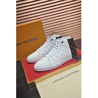 2021 LV Louis Vuitton Men's Leather Low Top Sneakers Shoes BROWN WHITE