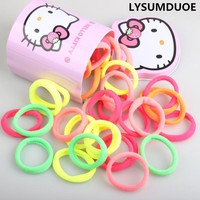 30Pcs/Set Elastic Hair Bands Hello Kitty Box Gift Hairband Cute Headdress Candy Color Rainbow Hair Band Girls Hair Accessories