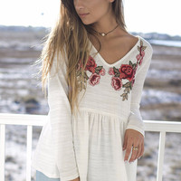 St. Ives Off White Rose Embroidered Top