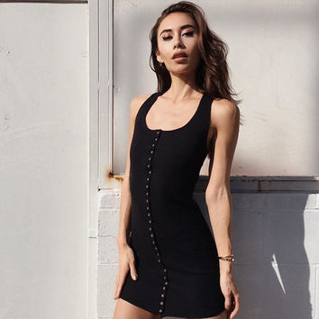 Fashion Casual Female Solid Color Low Chest Single Row Buttons Sleeveless Backless Vest Pack-hip Tight Mini Dress
