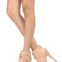 Nude Faux Leather Cross Strap Platform Ankle Booties