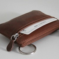 Genuine Leather Change Purse, coin wallet with attached key ring - UNISEX!