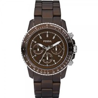 Fossil Women's CH2746 Quartz Chronograph Aluminum Brown Dial Watch