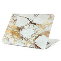 """Gold Marble Case Best Protection Tech Rubberized Hard Shell Matte Nanometer Cover for MacBook Air 11.6""""  , Air 13.3 , Pro 13.3"""" , Pro 15.4"""" , Retina 15.4"""" , Retina 13.3"""" , Retina 12"""""""
