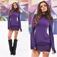 2017 New year Women Long Sleeve Thumb Out Dress With Pockets Winter Clothes for Women Dress Women's Clothing Sexy Office Dress