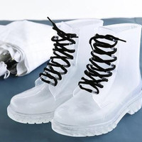 Women Rain boots Clear Crystal Jelly Women Rainboot  Low Boots Knight Water Shoes Rain Five Color