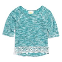 Girl's Jenna & Jessie Crochet Trim Top