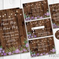 Wedding Invitations Set Template Purple Package Printable Invites Save The Date INSTANT DOWNLOAD Tags Wood Sunflower Personalize Editable