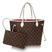 Authentic Louis Vuitton Neverfull MM Monogram Canvas Cherry Handbag Article:M41177