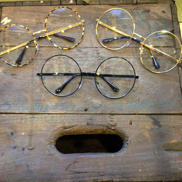 Oversized Clear Circle Glasses Vintage Round Sunglasses - Janis