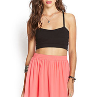 FOREVER 21 Lace Trim Chiffon Skirt