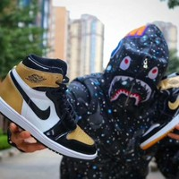 "Air Jordan 1 Top3 AJ1 ComplexCon Black/Gold ""Yin Yang"" Sneaker"